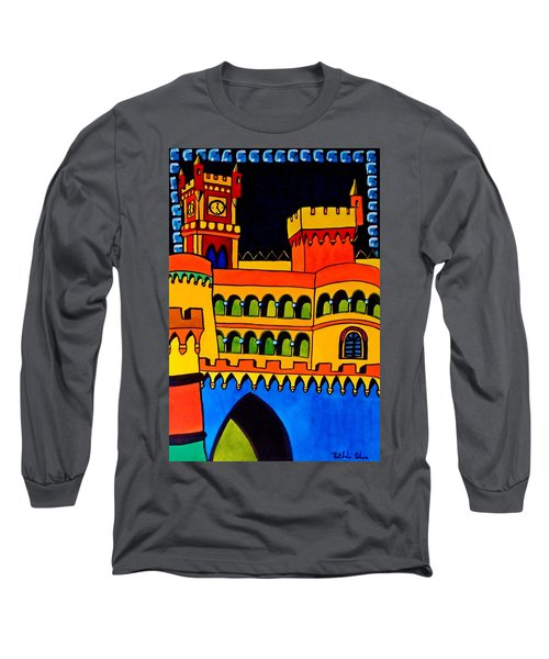 Long Sleeve T-Shirt featuring the painting Pena Palace Portugal by Dora Hathazi Mendes