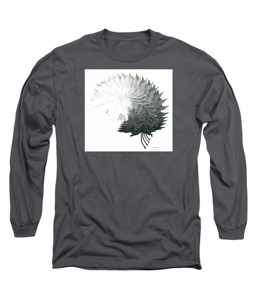 Pencil Drawing Of Maple Leaves Long Sleeve T-Shirt