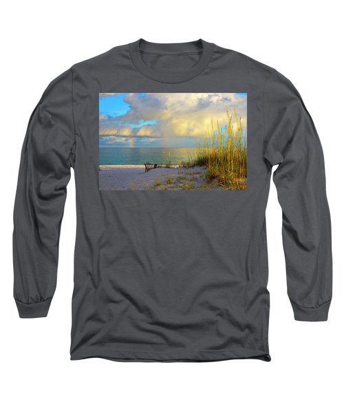 Pensacola Rainbow At Sunset Long Sleeve T-Shirt by Marie Hicks