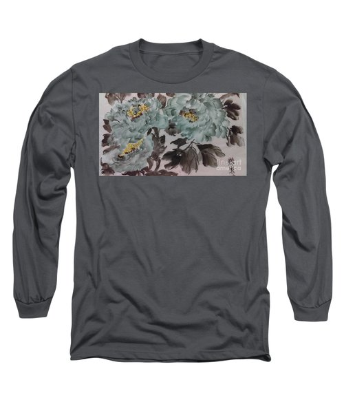 Long Sleeve T-Shirt featuring the painting Peoney20161229_5 by Dongling Sun