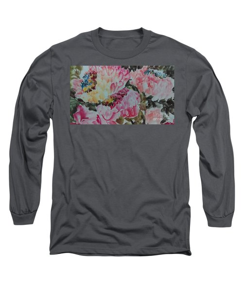 Long Sleeve T-Shirt featuring the painting Peoney20161229_9 by Dongling Sun