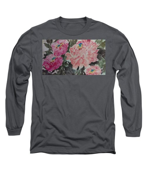 Long Sleeve T-Shirt featuring the painting Peoney20161230_622 by Dongling Sun