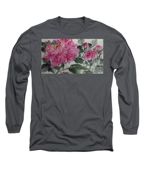Long Sleeve T-Shirt featuring the painting Peoney20161230_623 by Dongling Sun