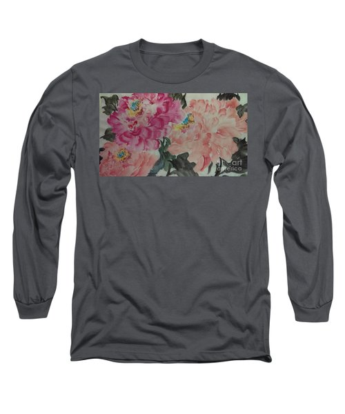 Long Sleeve T-Shirt featuring the painting Peoney20161230_6246 by Dongling Sun