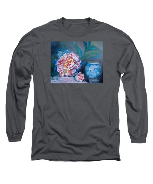 Long Sleeve T-Shirt featuring the painting Peony And Chinese Vase by Jenny Lee