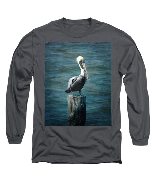 Perched Pelican Long Sleeve T-Shirt by Carla Parris