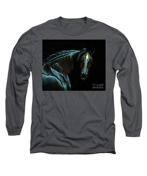 Percheron Mare In The Moonlight Long Sleeve T-Shirt