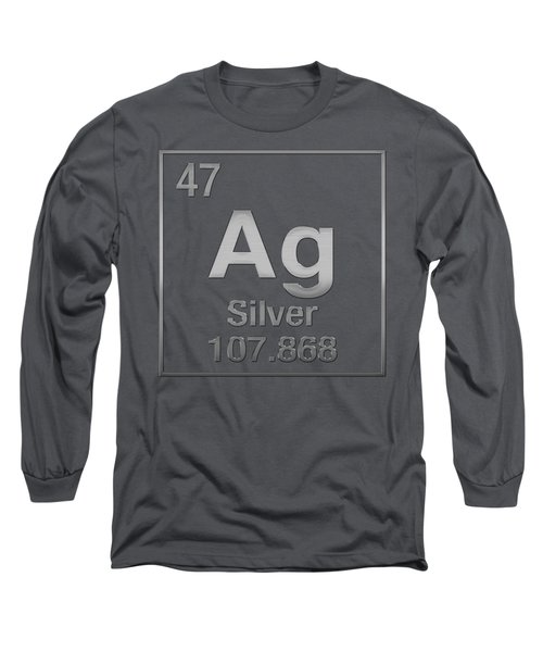 Periodic Table Of Elements - Silver - Ag - Silver On Silver Long Sleeve T-Shirt