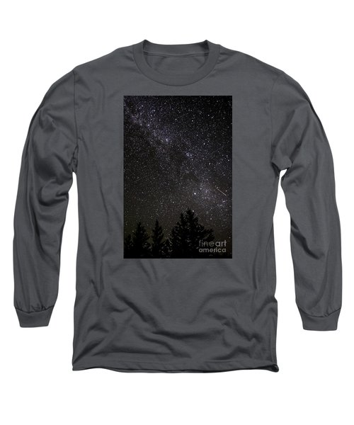 Perseid Meteor And Milky Way Long Sleeve T-Shirt