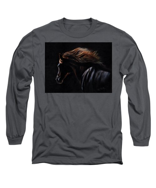 Long Sleeve T-Shirt featuring the painting Peruvian Paso Horse by David Stribbling