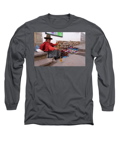 Long Sleeve T-Shirt featuring the photograph Peruvian Weaver by Aidan Moran
