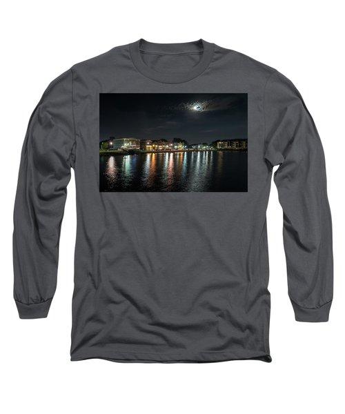 Pewaukee At Night Long Sleeve T-Shirt by Randy Scherkenbach