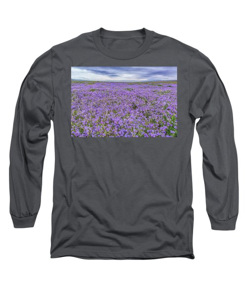 Long Sleeve T-Shirt featuring the photograph Phacelia Field And Clouds by Marc Crumpler