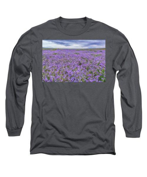 Phacelia Field And Clouds Long Sleeve T-Shirt