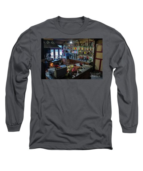 Long Sleeve T-Shirt featuring the photograph Phakding Teahouse Kitchen Morning by Mike Reid