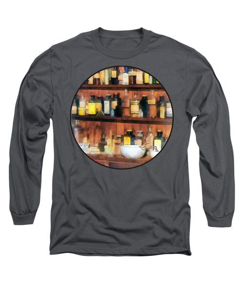 Long Sleeve T-Shirt featuring the photograph Pharmacist - Mortar Pestles And Medicine Bottles by Susan Savad