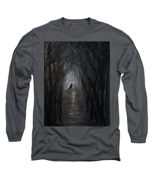 Long Sleeve T-Shirt featuring the painting Pheasants In The Garden by Tone Aanderaa