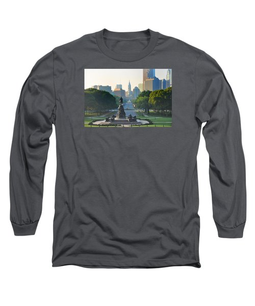 Long Sleeve T-Shirt featuring the photograph Philadelphia Benjamin Franklin Parkway by Bill Cannon