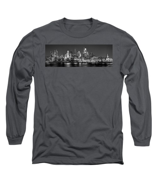 Philadelphia Philly Skyline At Night From East Black And White Bw Long Sleeve T-Shirt