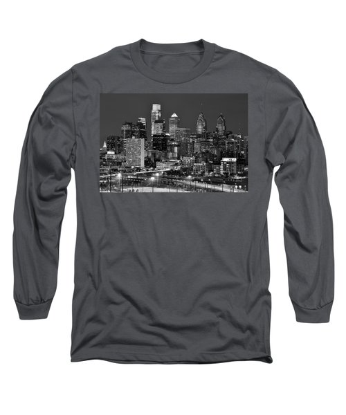 Philadelphia Skyline At Night Black And White Bw  Long Sleeve T-Shirt by Jon Holiday