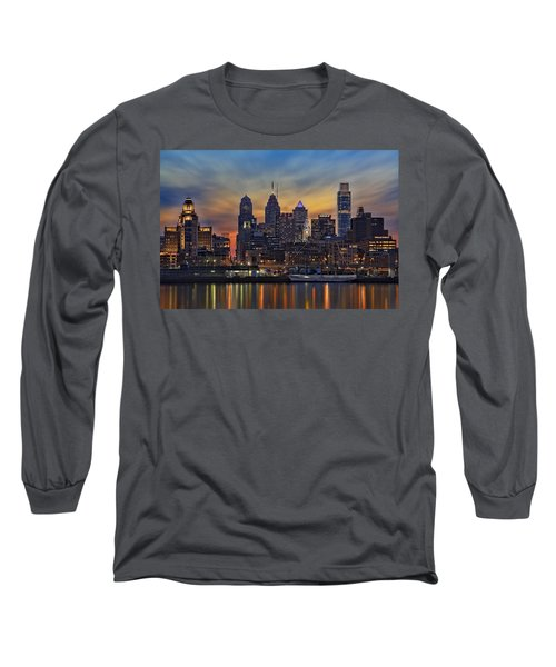 Long Sleeve T-Shirt featuring the photograph Philadelphia Skyline by Susan Candelario
