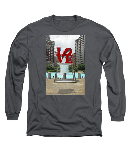 Philadelphia's Love Park Long Sleeve T-Shirt by Cindy Manero