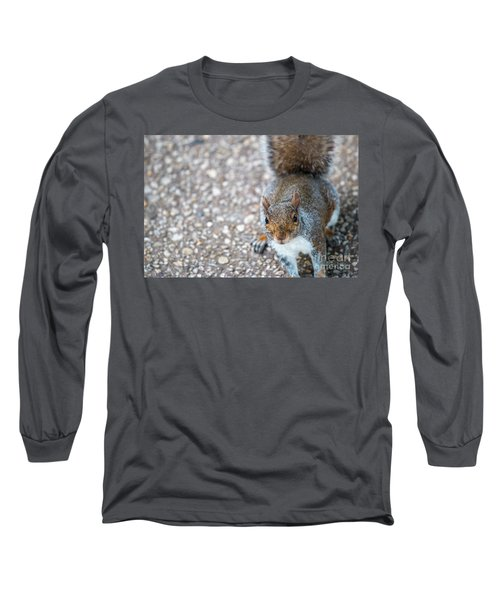 Photo Of Squirel Looking Up From The Ground Long Sleeve T-Shirt