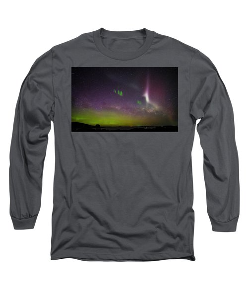 Picket Fences And Proton Arc, Aurora Australis Long Sleeve T-Shirt by Odille Esmonde-Morgan