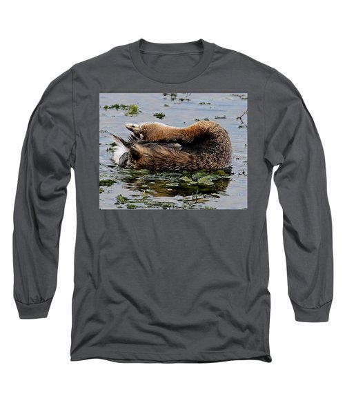 Pied-billed Grebe Spreading Oil Long Sleeve T-Shirt