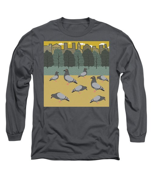 Pigeons Day Out Long Sleeve T-Shirt by Nicole Wilson