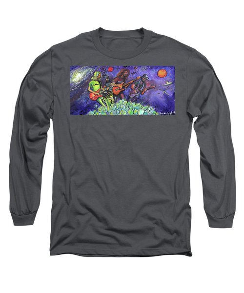 Long Sleeve T-Shirt featuring the painting Pigeons Playing Ping Pong by David Sockrider