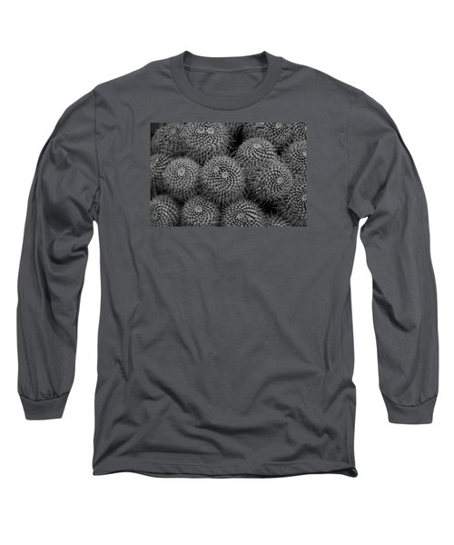 Pincushion Cactus In Black And White Long Sleeve T-Shirt