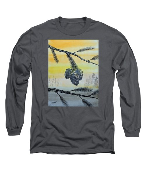Long Sleeve T-Shirt featuring the painting Pine Cones by Jack G  Brauer