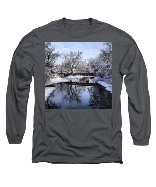 Pine River Foot Bridge From Superior In Winter Long Sleeve T-Shirt