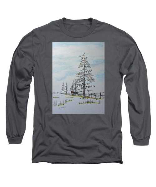 Long Sleeve T-Shirt featuring the painting Pine Tree Gate by Jack G  Brauer