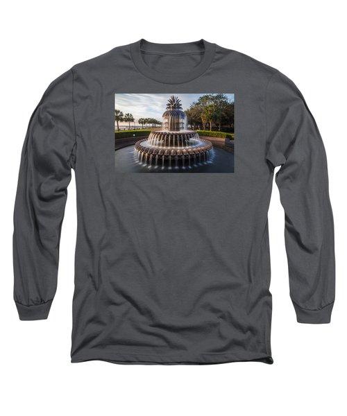 Pineapple Fountain Charleston Sunrise Long Sleeve T-Shirt by John McGraw