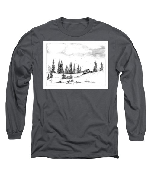 Long Sleeve T-Shirt featuring the drawing Pinetree Cabin by Terri Mills