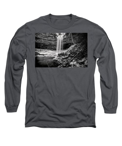 Piney Falls In Black And White Long Sleeve T-Shirt