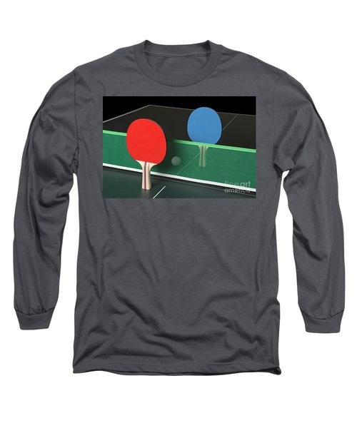 Ping Pong Paddles On Table, Standing Upright Long Sleeve T-Shirt