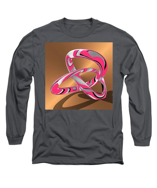 Pink Abstract On Gold Long Sleeve T-Shirt