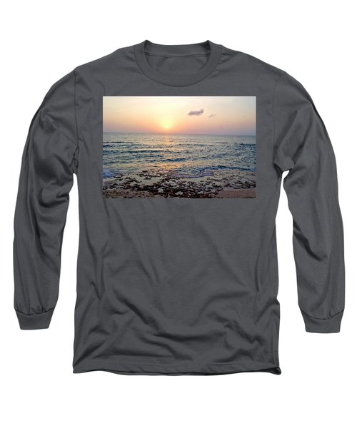 Pink And Purple Sunset Over Grand Cayman Long Sleeve T-Shirt by Amy McDaniel