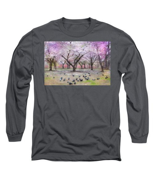 Long Sleeve T-Shirt featuring the photograph Pink And White Spring Blossoms - Boston Common by Joann Vitali