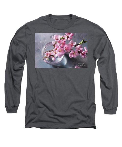 Pink Cherry Blossom Long Sleeve T-Shirt by Anastasy Yarmolovich