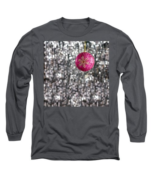 Long Sleeve T-Shirt featuring the photograph Pink Christmas Bauble by Ulrich Schade