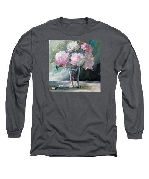 Pink Peonies Long Sleeve T-Shirt by Terri Einer