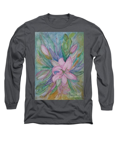Pink Lily- Painting Long Sleeve T-Shirt by Veronica Rickard