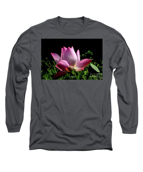 Pink Lotus  Long Sleeve T-Shirt by Jeannie Rhode