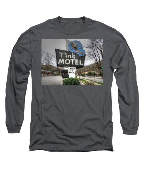 Pink Motel Sign Maggie Valley North Carolina Long Sleeve T-Shirt