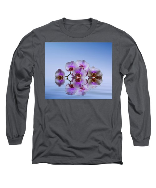 Pink Orchids Blue Background Long Sleeve T-Shirt