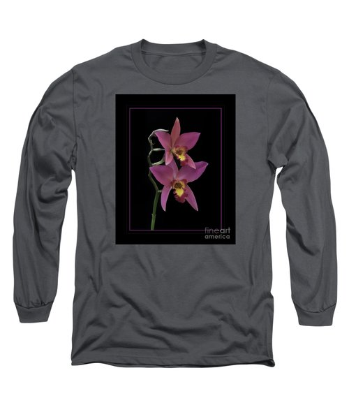 Pink Orchids Long Sleeve T-Shirt by Darleen Stry